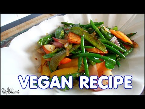 Healthy Green Stir-Fry Vegetables ( VEGAN RECIPE )  | Chef Ricardo Cooking
