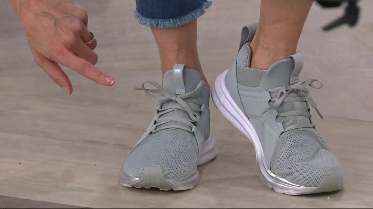 4d7e26ef8064 PUMA Mesh Mid Lace-up Sneakers - Enzo on QVC - YouTube