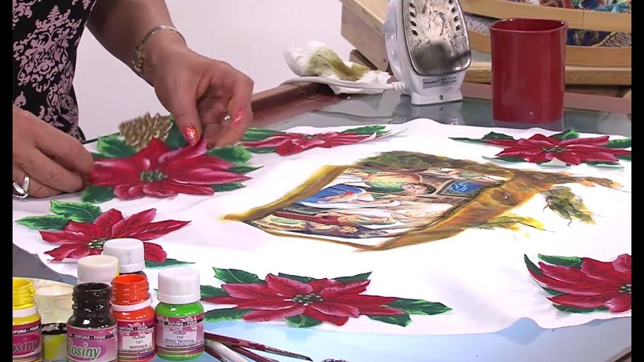 Como pintar un centro de mesa con bordado liquido hogar - Como pintar telas a mano ...