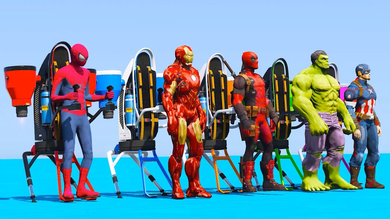 GTA 5 JETPACK challenge with Spider-Man Ironman Hulk Deadpool Captain America - JETPACK Thruster