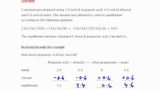 Equilibrium: Propanoic acid + ethanol ⇌ ethyl propanoate + water