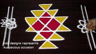 How to Draw Kubera Kolam - Kubera rangoli for the blessings of Lord Kubera - Kubera muggu designs