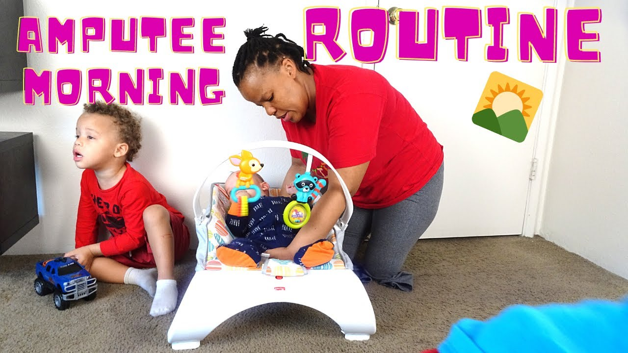 Double Amputee Mom's Chaotic Morning With 3 Kids-Infant and twins toddlers
