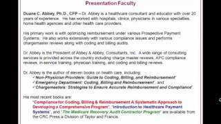 YouTube Webinar ED Coding, Billing and Reimbursement for APCs