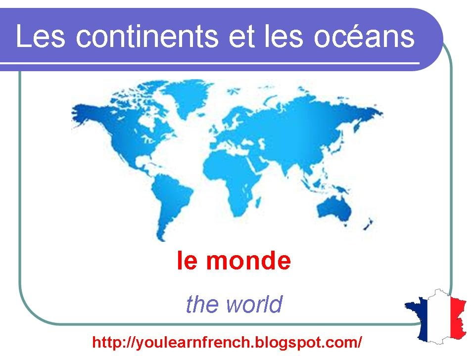 French Lesson Continents And Oceans Of The World Vocabulary - All 5 oceans