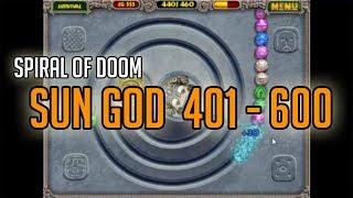 Zuma Deluxe -- Sungod 401-600 (Spiral of Doom Gauntlet Survival gameplay)