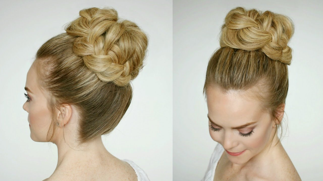 french braid high bun | missy sue - youtube