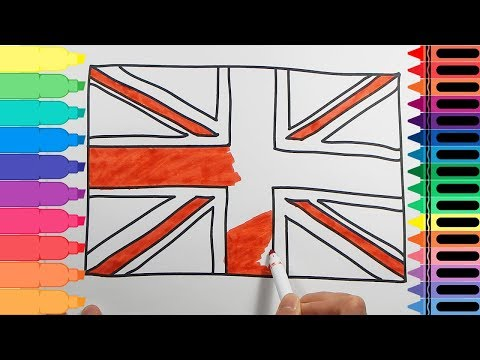 How to Draw the British Flag - Drawings for kids UK Flag - Art Colours for Kids | Tanimated Toys