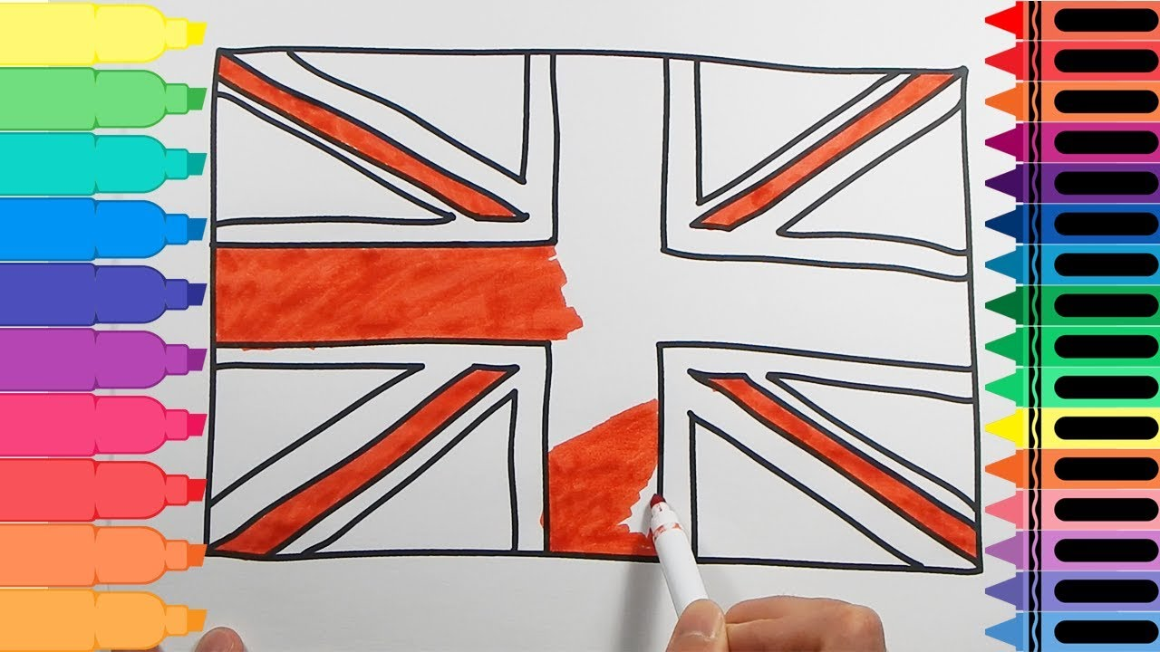 How To Draw The British Flag Drawings For Kids Uk Flag Art Colours For Kids Tanimated Toys Youtube
