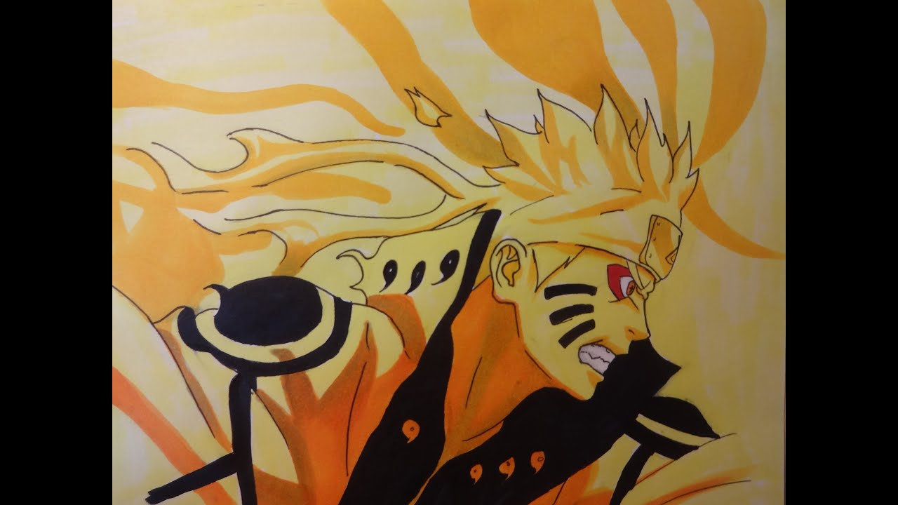 Drawing naruto biju mode dessiner naruto en mode biju - Naruto kyubi dessin ...