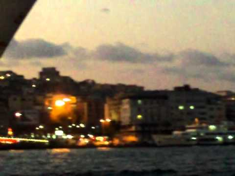 Istanbul Bosphorus view at dusk August 2011