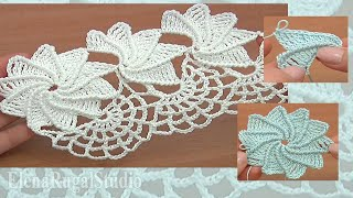 How TO Crochet Spider Web Lace Урок 23 часть 2 из 2 Ленточное кружево с паутинкой