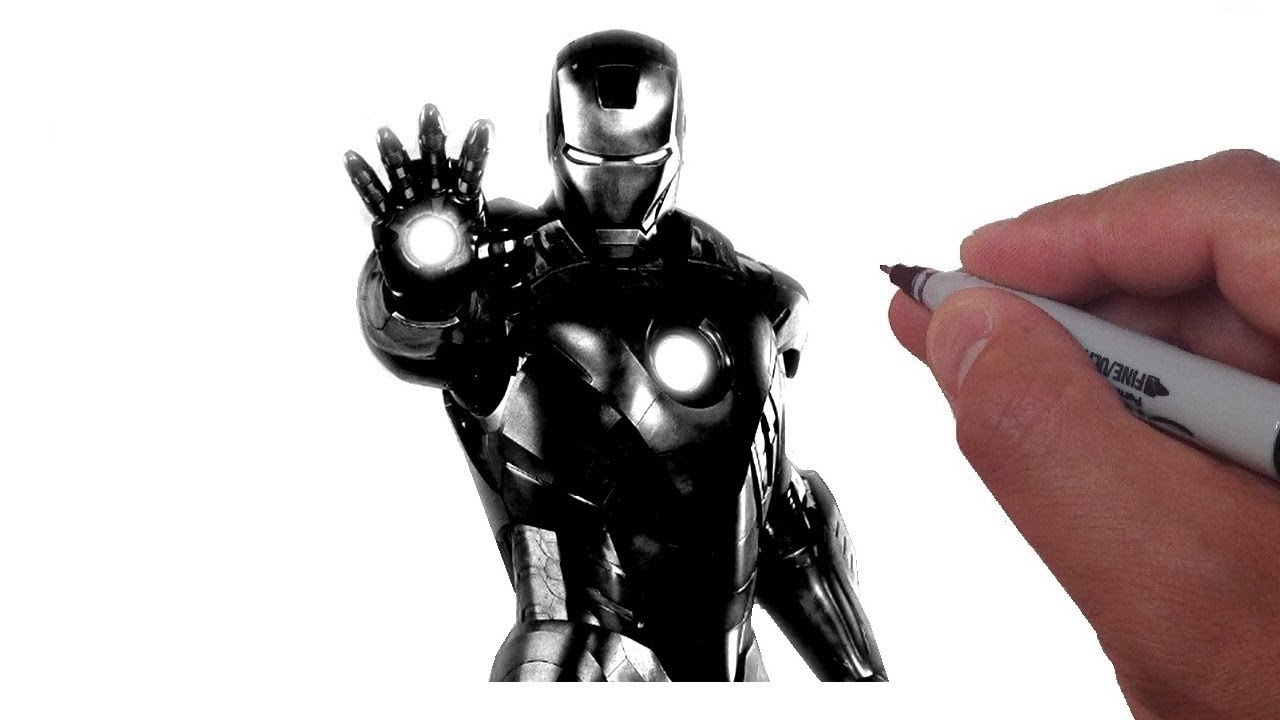 How To Draw Iron Man Black And White