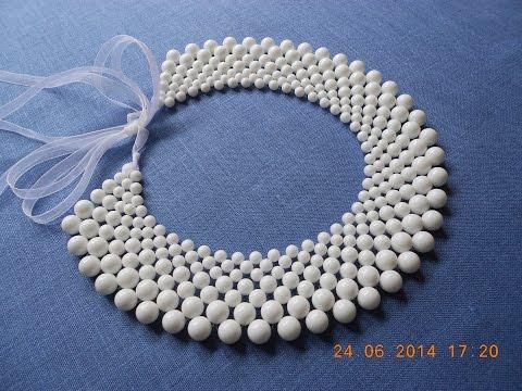 DIY: Ожерелье (воротник-колье) из полубусин и бисера своими руками.Бусы.Аксессуары.Мастер-класс