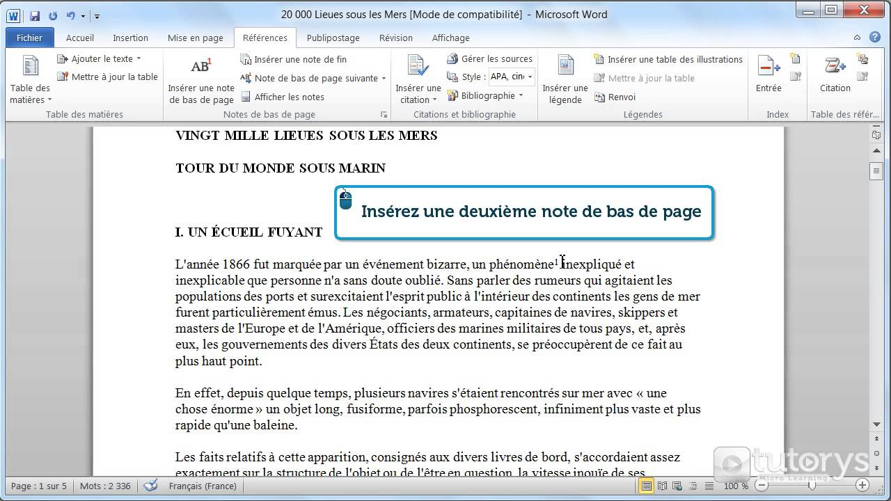 comment ins u00e9rer des notes de bas de page avec word 2010