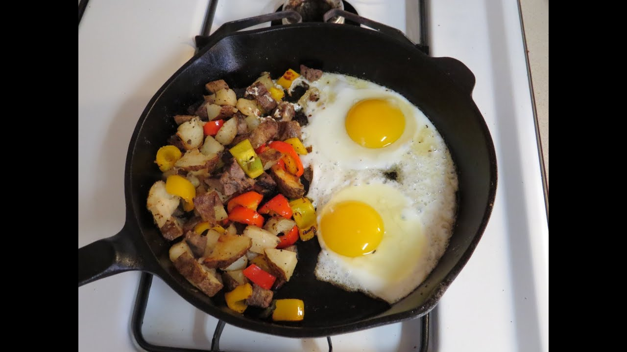 Leftovers for Breakfast-Steak Hash and Fried Eggs Recipe - YouTube