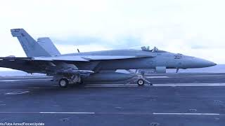 US Navy conducts F-18 Flight Operations on Aircraft Carrier