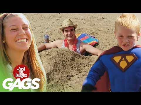 Beach Army, Superman Kid and Disappearing Girl Pranks - Throwback Thursday