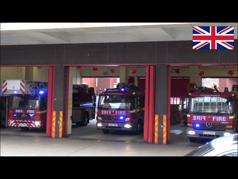 Fire trucks responding x3 - Turntable Ladder & Pumps of the London Fire Brigade