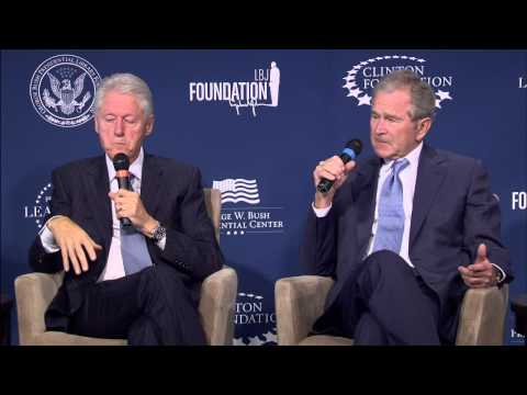 President George W. Bush and President Bill Clinton discuss Presidential Leadership Scholars