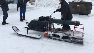 Доработка мотособаки до снегохода. Поездка по пухляку Все