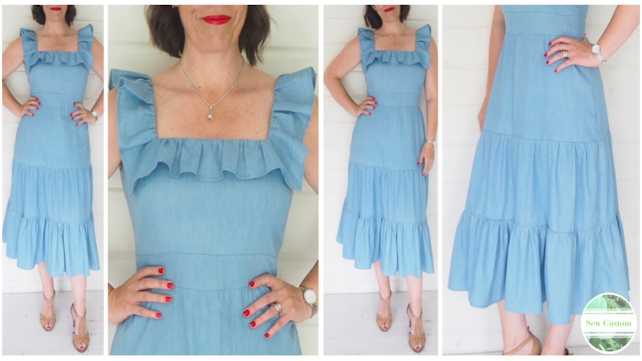 How I Sewed my Summer Midi Dress with Square Neckline, Ruffle and Tiered Skirt