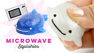 Make GLITTERY SQUISHIES using a MICROWAVE!! Weird DIY Squishy from Fish Bait!