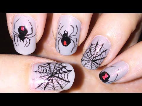 Black Widow Spider And Spider Web Nail Art (Halloween)