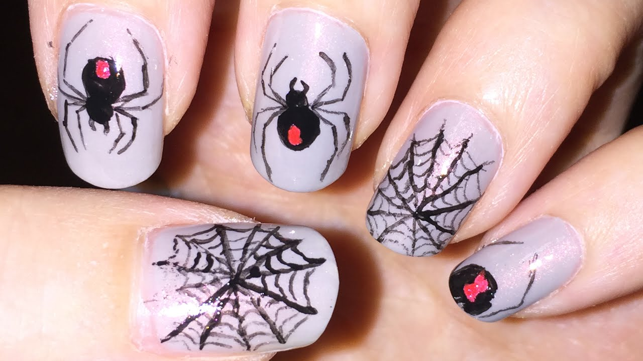 Black widow spider and spider web nail art (Halloween) - YouTube