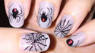 Black widow spider and spider web nail art (Halloween)
