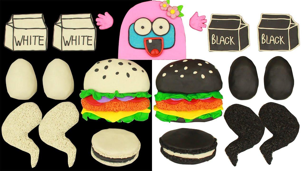 Black Food Vs White Food Color Challenge   Funny Among Us Mukbang Animation
