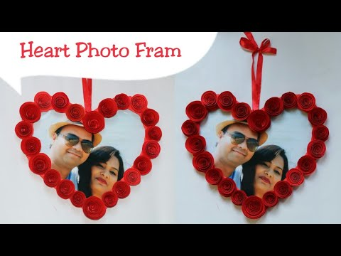 Diy Heart Photo Frame Making Cardboard Photo Frame Valentine S Day