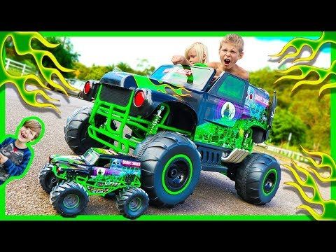Thumbnail: Power Wheels Ride on Monster Truck Grave Digger CRUSHES RC Monster Truck - Surprise Toy Unboxing