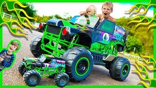 power wheels ride on monster truck grave digger crushes rc monster truck surprise toy unboxing