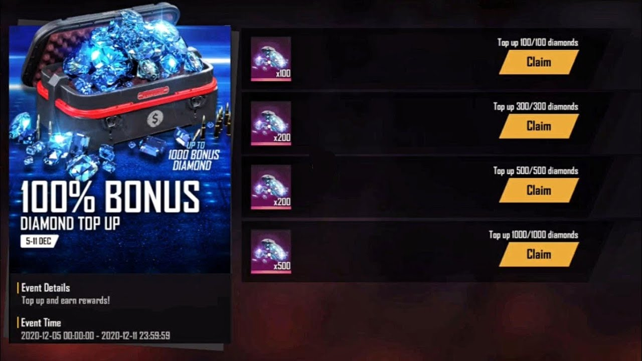 100 Bonus Diamond Top Up Event Full Details Get Up To 3000 Diamonds In Free Fire New Topup Event Youtube