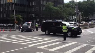 NYPD & United States Secret Service Escorting 2 Limos Out Of The United Nations General Assembly