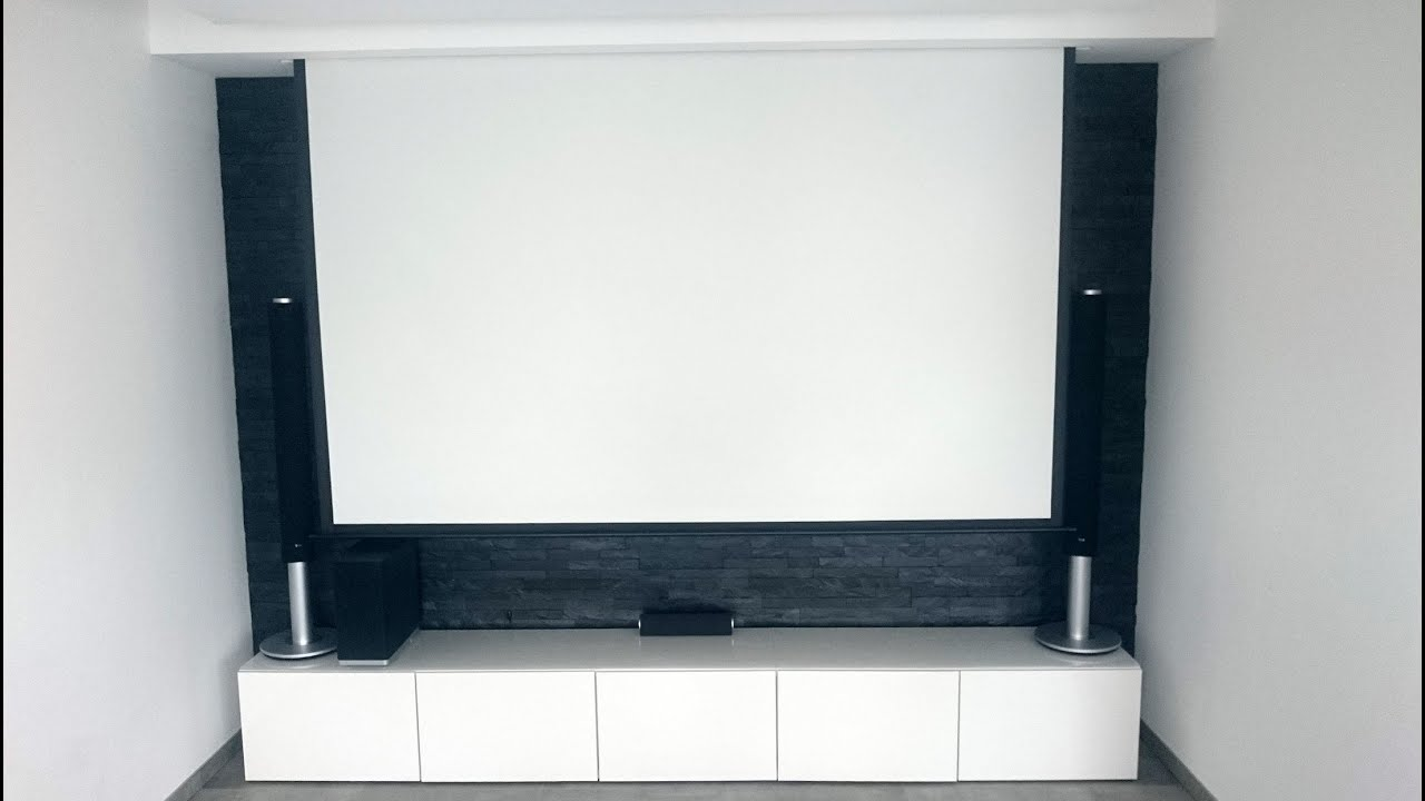 beamer leinwand elektrisch mit motor in trockenbau versteckt youtube. Black Bedroom Furniture Sets. Home Design Ideas