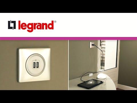 prise double chargeur usb c liane legrand youtube. Black Bedroom Furniture Sets. Home Design Ideas