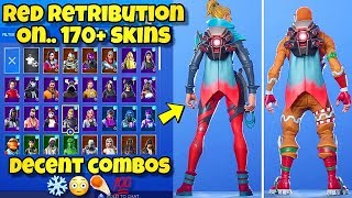 "NEW RED ""RETRIBUTION"" BACK BLING Showcased With 170+ SKINS! Fortnite BR (RED RETRIBUTION COMBOS)"