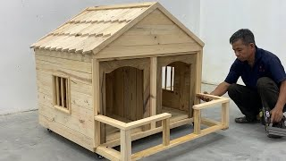 Amazing Woodworking Techniques DIY Projects At Home - How To Build A Wooden Villa House For My Dog