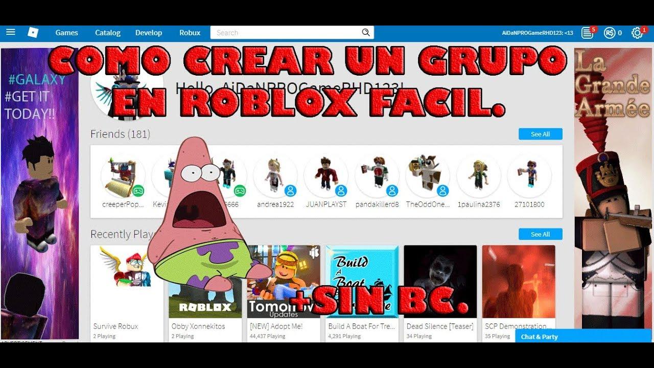 Como Crear Un Grupo En Roblox Youtube
