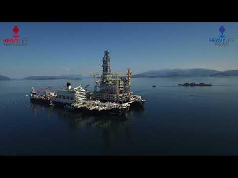 Pioneering Spirit   installs 22,000 tons  Johan Sverdrup Topside