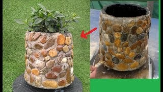 How to make pots of cement and stones, Creative Ideas for Terrace or Garden.