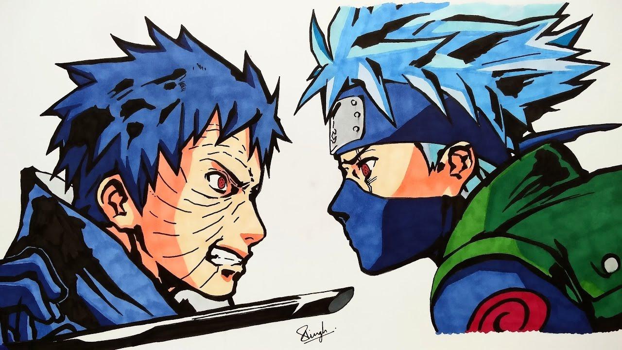 Drawing Kakashi vs Obito - Naruto - YouTube