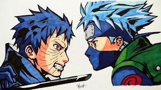 Drawing Kakashi vs Obito - Naruto