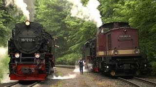 Dampflok 99 7234 Lokschaden in Steinerne Renne   Harzkamel schleppt ab