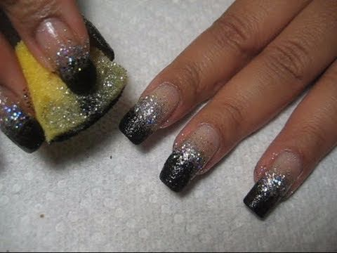 New years bling silver black sponging diy nail art tutorial youtube