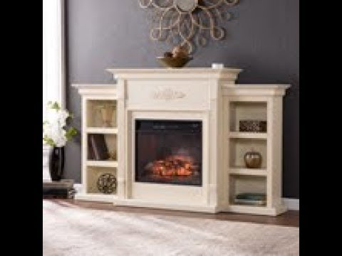 Fi8544 Tennyson Infrared Electric Fireplace W Bookcases Ivory Assembly Sei Furniture