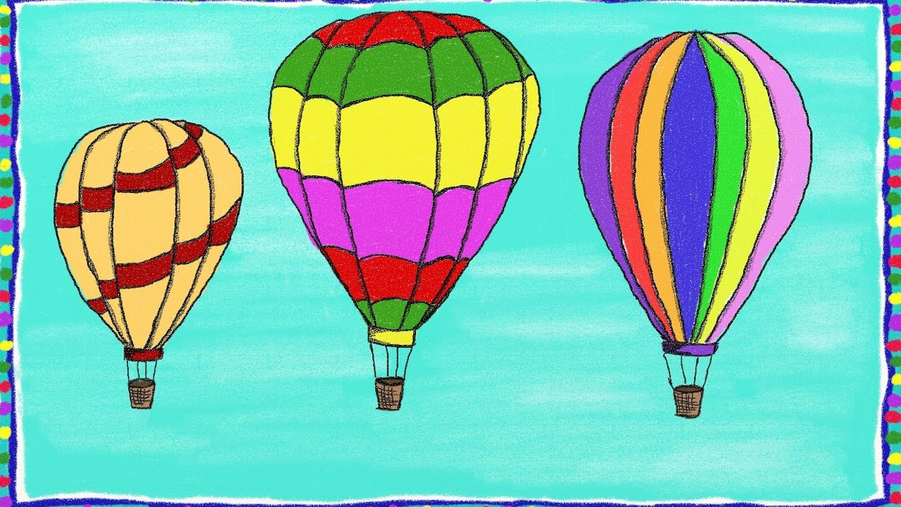 Drawing a simple Hot Air Balloon  How to draw a Hot Air Balloon