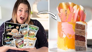 Turning $5 ICE CREAM into a BAKED CAKE!